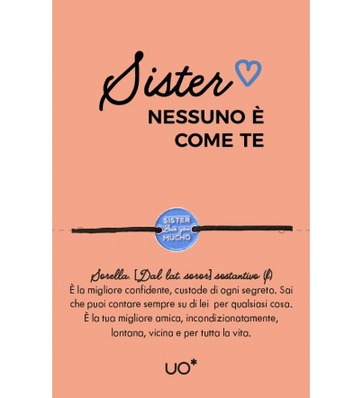 "Braccialetto charm ""Sister, love you"""